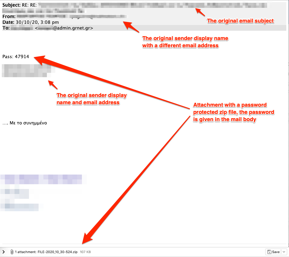 E-mails delivering Emotet dropper via URL (left) and attachment (right)