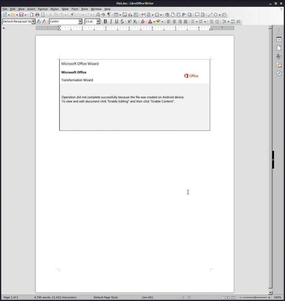 Fake MS Word pop-ups in Emotet dropper